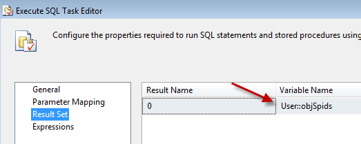how to get full result set in ssis